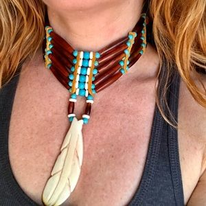 Handmade Bone Feather Beaded Leather Choker